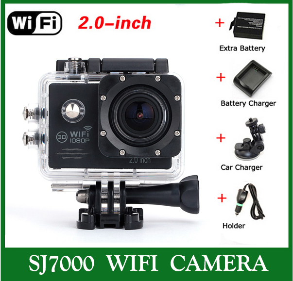 Sj7000 WIFI Sport Action Camera  waterproof 1080P  diving 30FPS + Car Charger + Stand + 1 unids Extra battery + battery charger