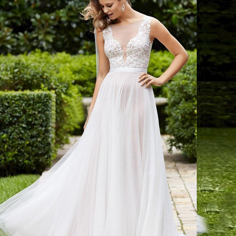 20 Elegant Simple Wedding Dresses Of 2015: Elegant-Plus-size-Lace-Wedding-Dresses-Vintage-Beach