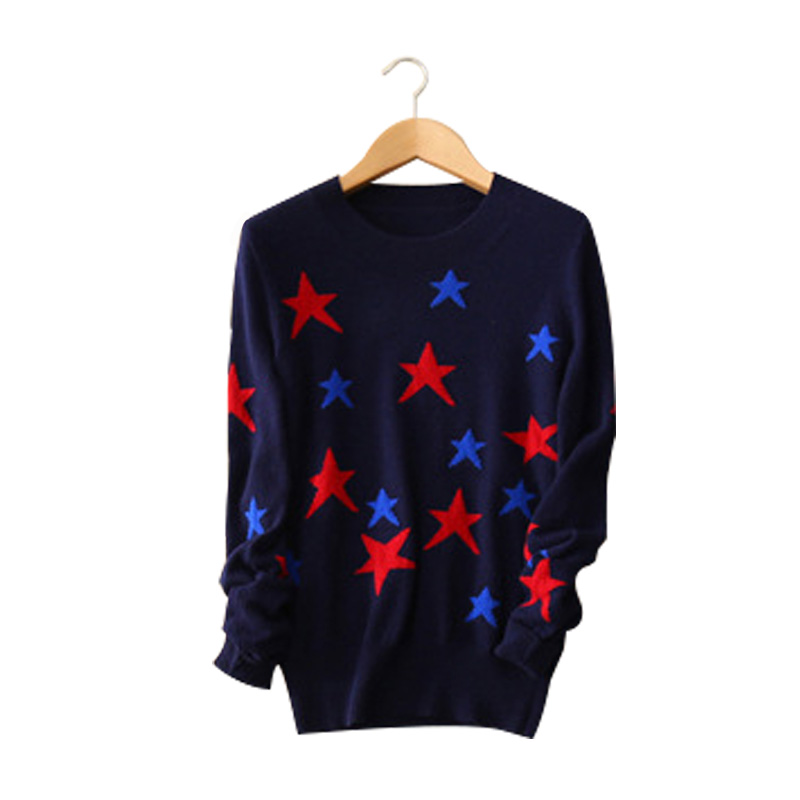 100 cashmere 3 colors sweater contract color stars O neck long sleeve knitting pullovers women s