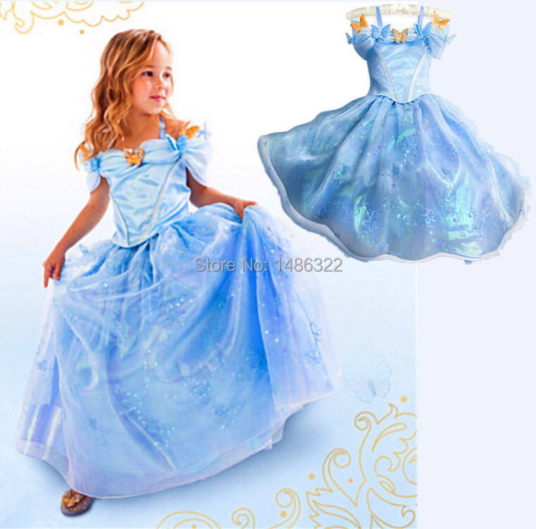 2015 New Movie Summer Cinderella Princess Kids Cosplay Costume font b Dresses b font Girl font