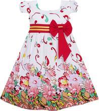 Sunny Fashion Vestido Menina Rosa Flor Baixo Manga Festa