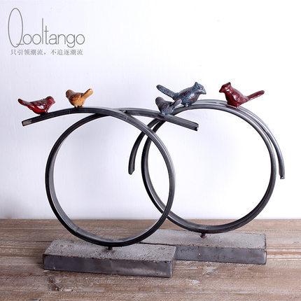 New Scandinavian metal circular geometric animal bird Home Decoration Iron vintage furnishings