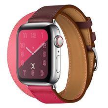 Двойной кожаный ремешок для часов, ремешок для Apple Watch 44 мм 40 мм iwatch Series 5 4 3 2 38 мм 42 мм для женщин(Китай)
