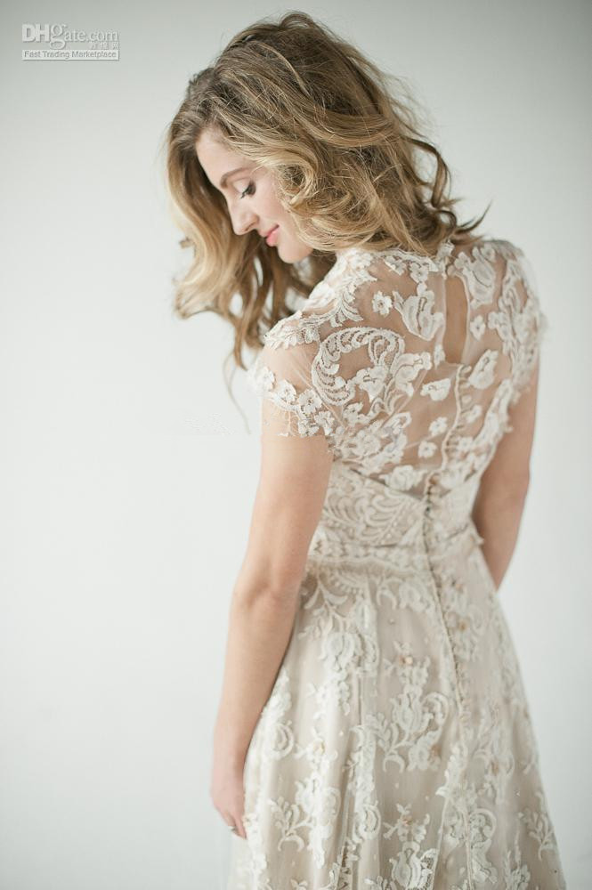 2014 Lace Back Wedding Dresses A vintage inspired lace ...