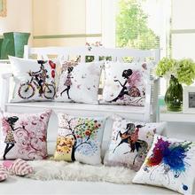 RUBI almofadas decorative cushion cover digital printing  flower fairy bike butterfly 45x45cm off 10%