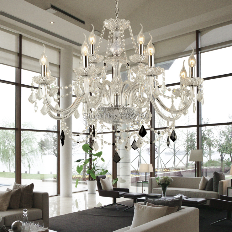 Modern Chandeliers For Living Room: Large 12 Bulbs European Candle Crystal Chandeliers Ceiling