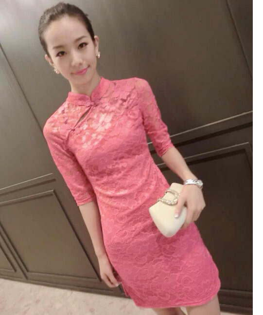 66b82d507a0f8 1pcs/lot free shipping National Wind women s lace short cheongsam sexy slim  tang suit cheongsam lace chinese dress pink/black
