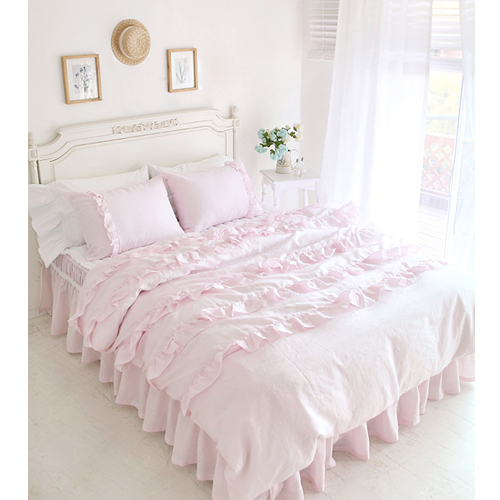 textile beautiful pink lace ruffled comforter sets duvet cover twin queen king size duvets bed. Black Bedroom Furniture Sets. Home Design Ideas