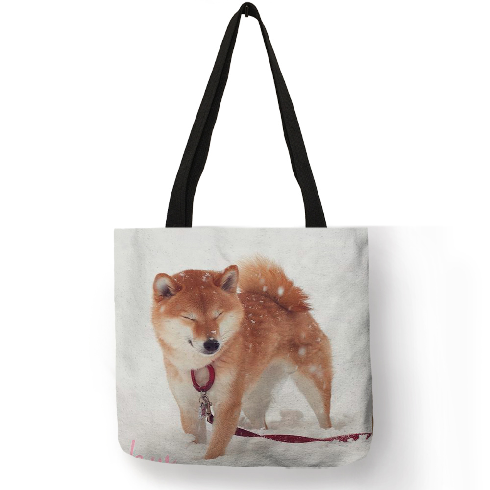 Милые забавные сумки на плечо с принтом собаки Шиба, женские повседневные сумки, сумка-тоут из льна, прочные многоразовые сумки для подгузни...(Китай)