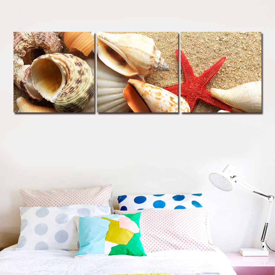 2016 New Modern Wall Art Home Decoration Printed Oil Painting Pictures Canvas Prints 3 Piece Shell Beach Scenery Wall Painting
