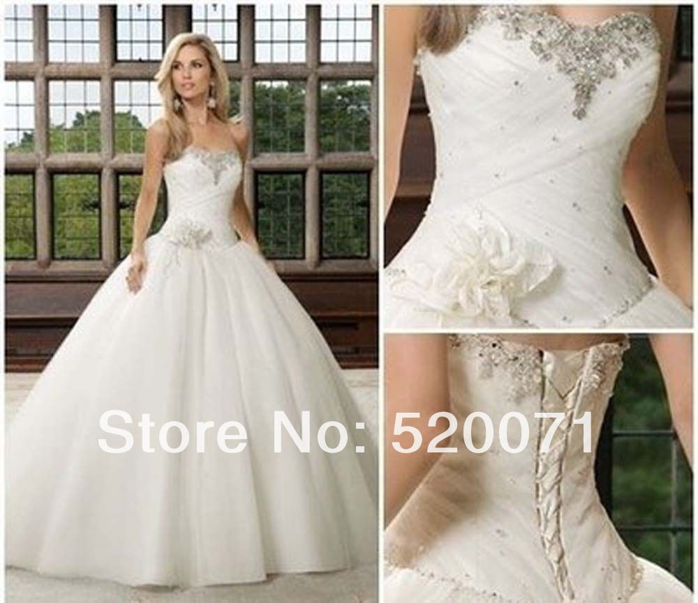 Beautiful Princess Wedding Gowns: Beautiful Ball Gown Sweetheart Sleeveless Crystals Tulle
