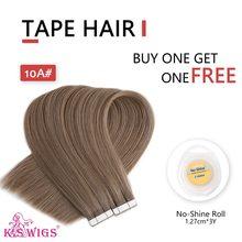 """K.S парики, двойные нарисованные волосы Remy на ленте, прямые Бесшовные волосы для наращивания на ленте, комплекты для наращивания волос 16 """"20"""" 24 """"...(Китай)"""