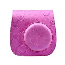Heart Design Denim Fabric Camera Bag Case with Shoulder Strap for Fujifilm Instax Mini 8 Fuji Film Camera – 4 Color