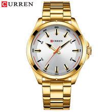 Золотые часы CURREN для мужчин, Простой деловой дизайн, наручные часы с ремешком из нержавеющей стали, мужские часы, роскошный бренд 2019(Китай)