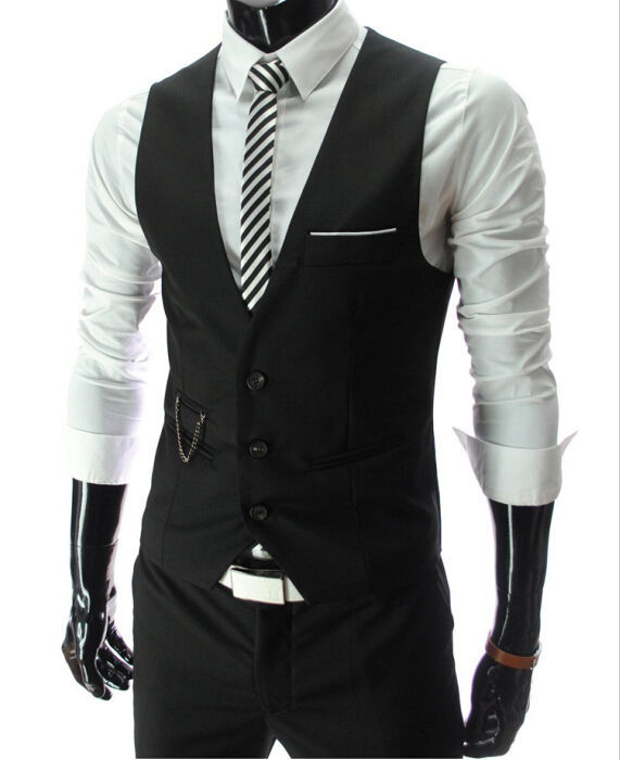 2015 New Arrival Dress Vests For Men Slim Fit Mens Suit Vest Male Waistcoat Gilet Homme