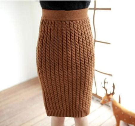 Women New 2016 font b Winter b font Fashion High Quality Braided Knit Bodycon Mid Skirt