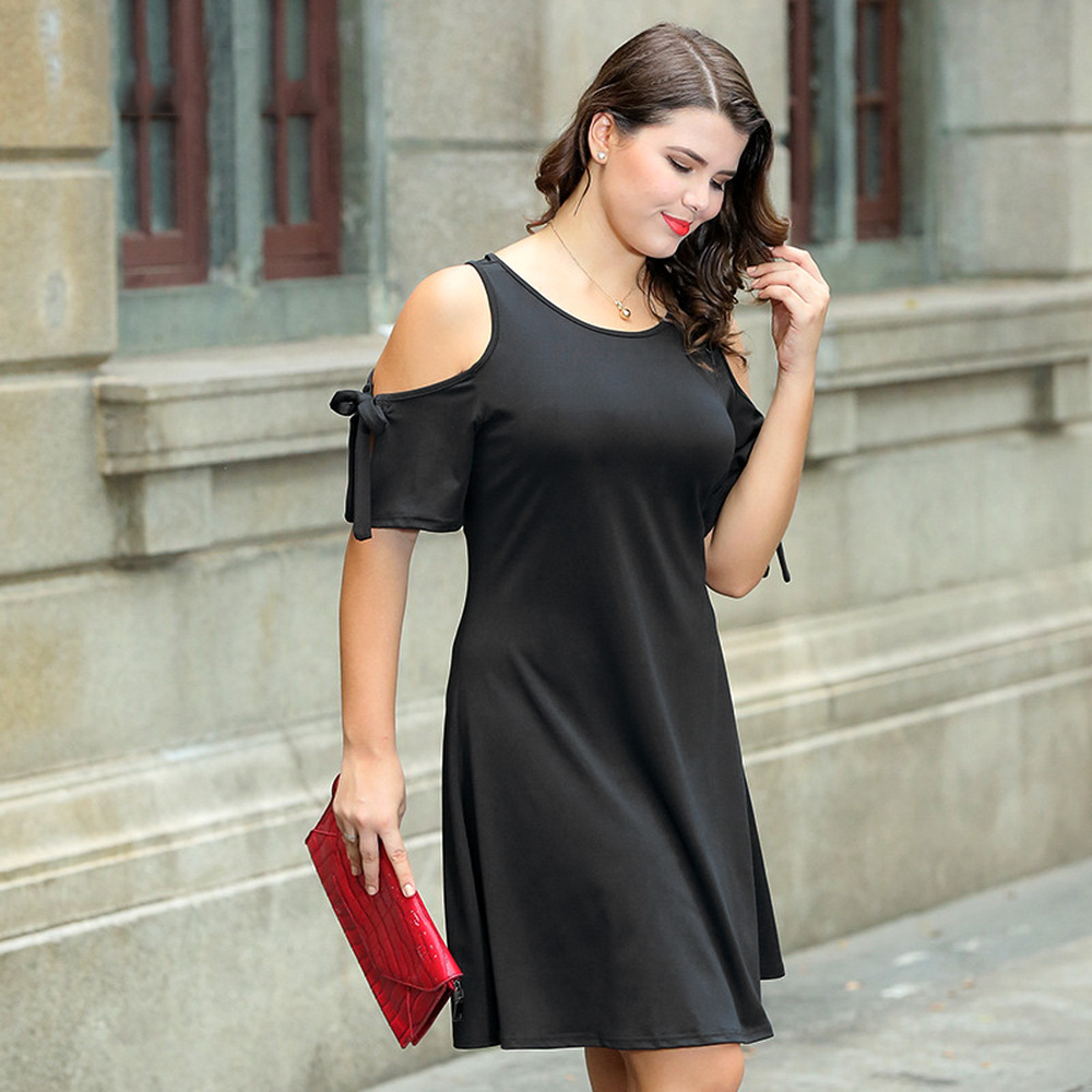 Sleeve Slip Women Short Blackxl Elastic For Bowknot Summer The Off Dress Shoulder htsdxQCr