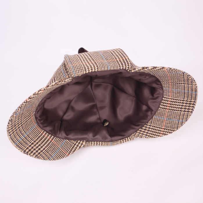 SHOWERSMILE Sherlock Holmes Hat Deerstalker Tweed Cap Costume ... 062e2503fc5