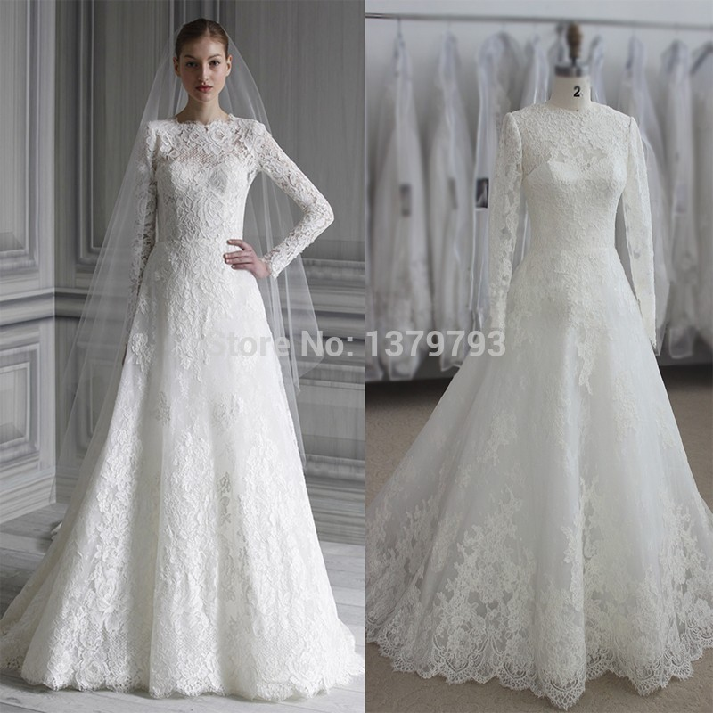 Simple Wedding Dresses With Sleeves: Elegant Long Sleeve Wedding Dresses Muslim Dress 2015