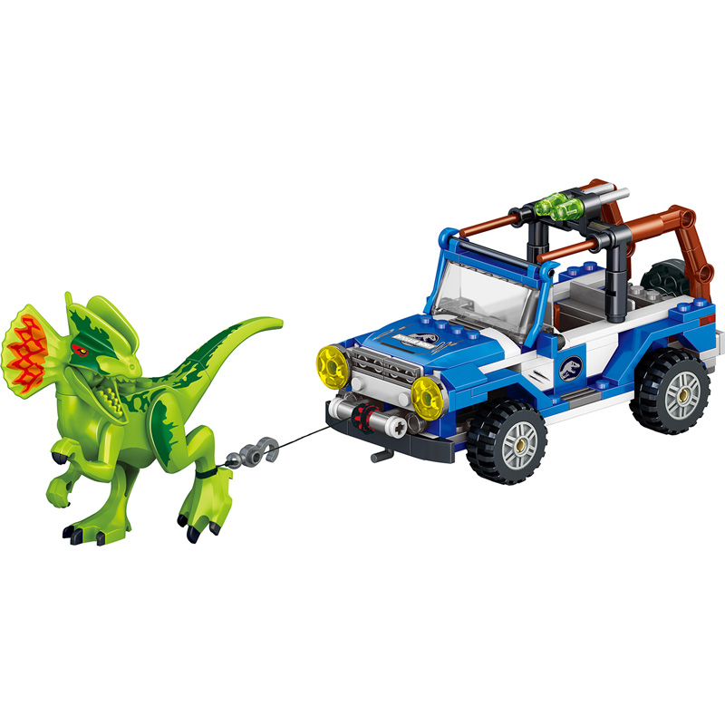 UKLego Jurassic World Dinosaur with Chariot Soldier Toy for kids.