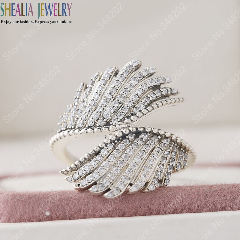 34888470a Compatible With Shealia Jewelry Feathers Ring 925 Sterling Silver Clear CZ Angel  Wing Rings For Women