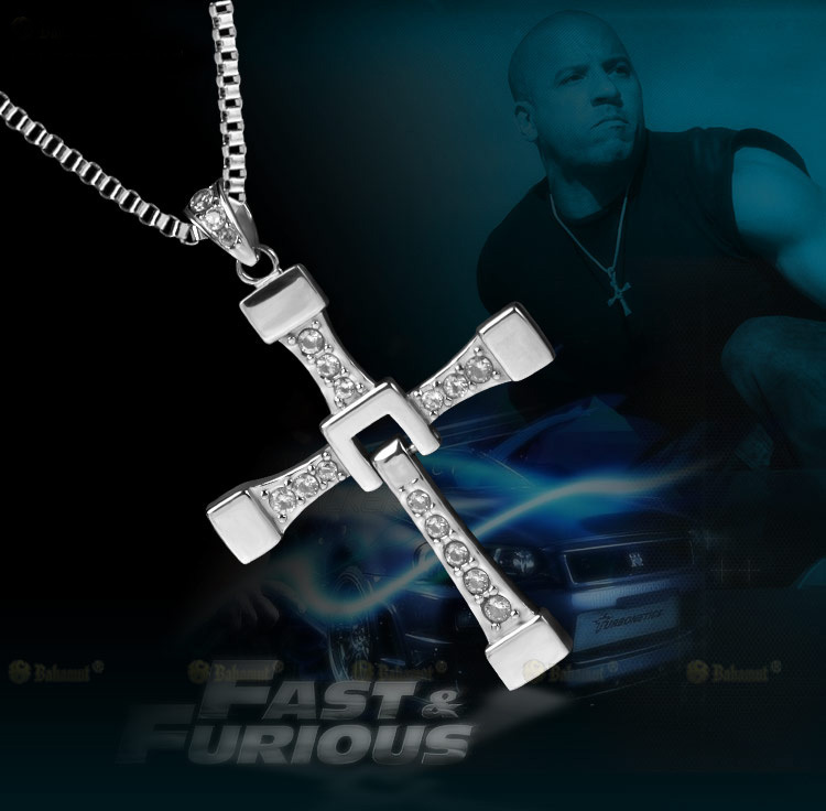 Vin Diesel Cross Necklace: Trendy Male Titan Fast Furious 7 Dominic Toretto / Vin