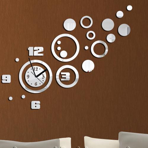 d coration de la maison effet miroir horloge murale. Black Bedroom Furniture Sets. Home Design Ideas