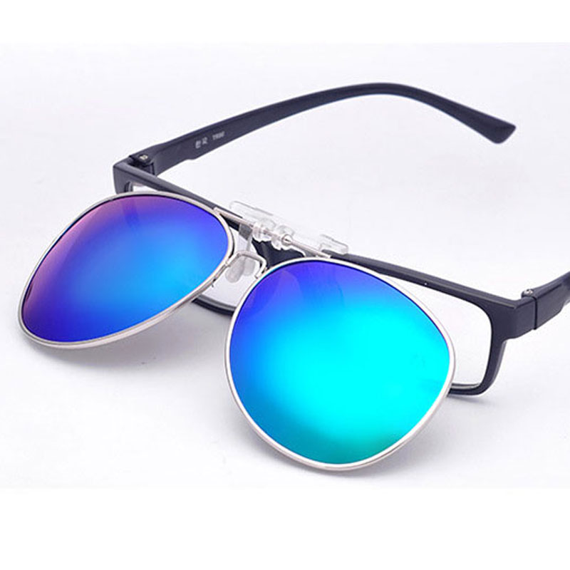 Mirrored Polarized Clip On Sunglasses Men Pilot Fit Over