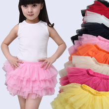 New fashion girls tutu skirts baby ballerina skirt childrens chiffon fluffy pettiskirts kids Hallowmas casual candy color skirt