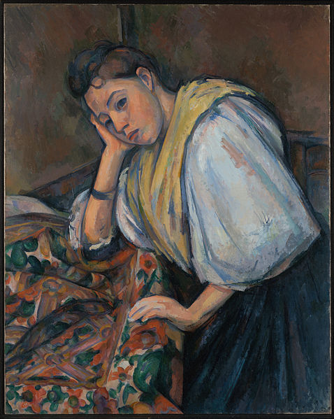 Canvas Art Prints Fabric Wall <font><b>Decor</b></font> Giclee Oil Painting Paul Cezanne (french - Young <font><b>Italian</b></font> Woman At A Table