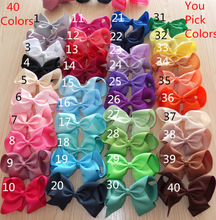 6 inch Large hair bows WITH clips,40 colors For you choose, Girl bows Boutique bows Hairpins Hairclip Hair Accessories 40pcs/lot