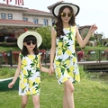 2016 Cotton Fashion Sleeveless Mother Daughter Dresses summer dress girls clothing set for baby and Mother
