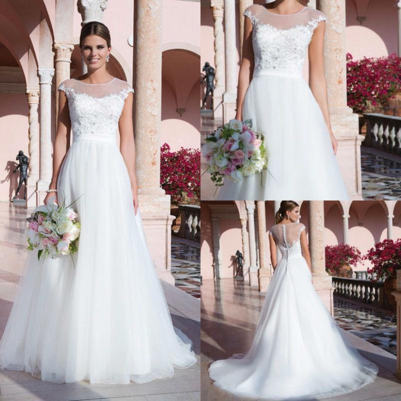 Garden Wedding Gowns: Cheap Garden Wedding Dresses A Line 2015 Summer Style Cap