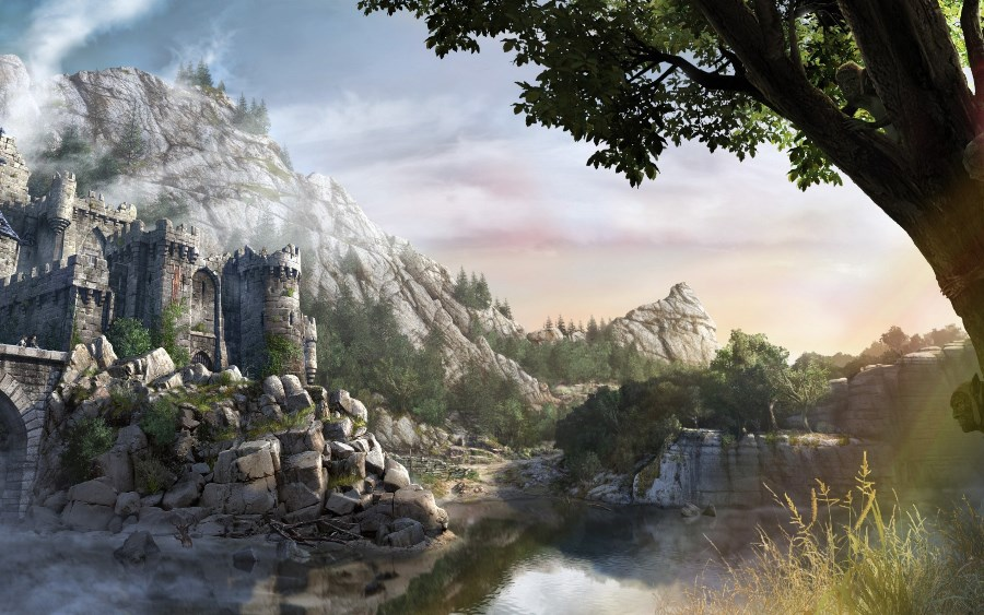 Living room bedroom home wall decoration fabric poster artwork Concept Art fantasy Art Fortress Gothic lake mountain