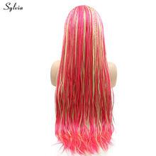 Sylvia афро Америка коробка плетеные парики из натуральных волос Средняя блондинка/Красный Розовый тон Цвет длинные волосы перетащите синтет...(Китай)
