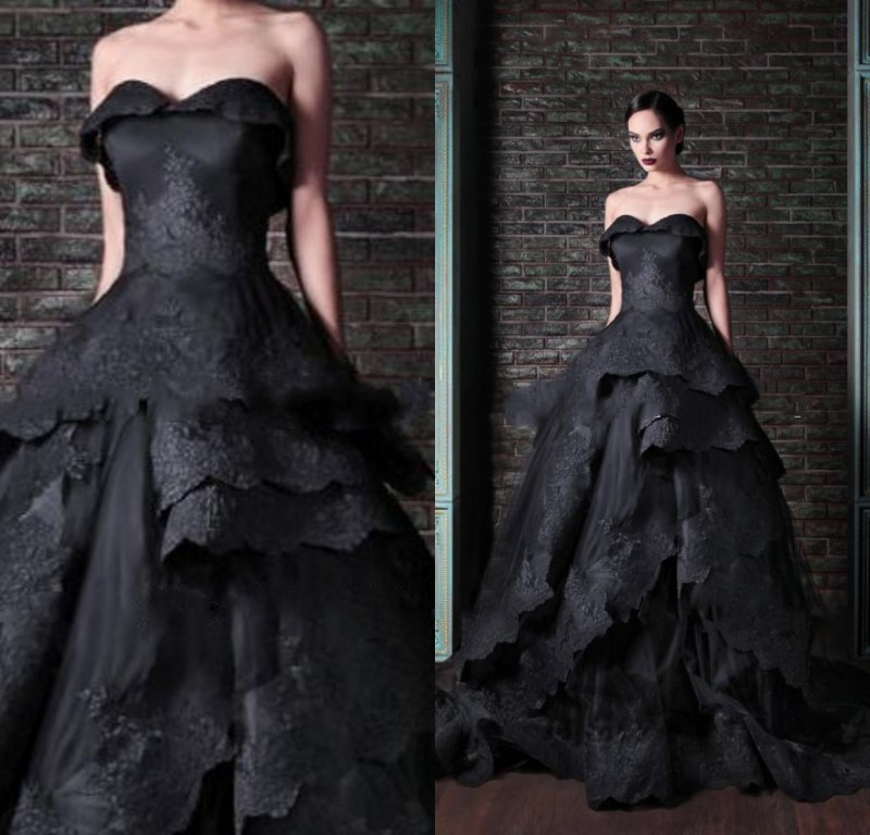 Medieval Black And White Gothic Wedding Ball Gown: Actual-Image-Black-Wedding-Dress-2015-Gothic-Victorian
