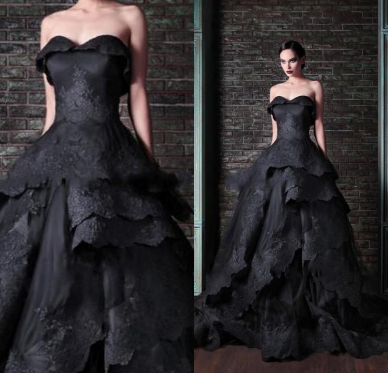 Vintage Black Lace Ball Gown Gothic Wedding Dresses Plus: Actual-Image-Black-Wedding-Dress-2015-Gothic-Victorian