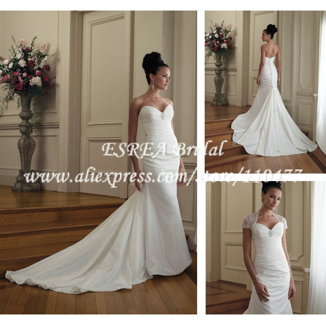 Simple And Elegant White Satin Sweetheart With Jacket: Aliexpress.com : Buy Simple Design Pleated Satin