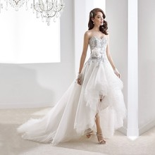 Vestidos De Novia Wedding Dress 2016 Short Front Long Back Appliques Sashes Wedding Gowns Bride Dress Casamento robe de mariage