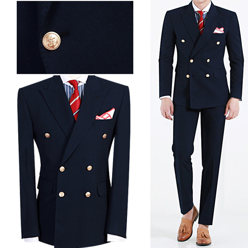 2019 Hot Sale Tailored Navy Bule Double Breasted Men Suit