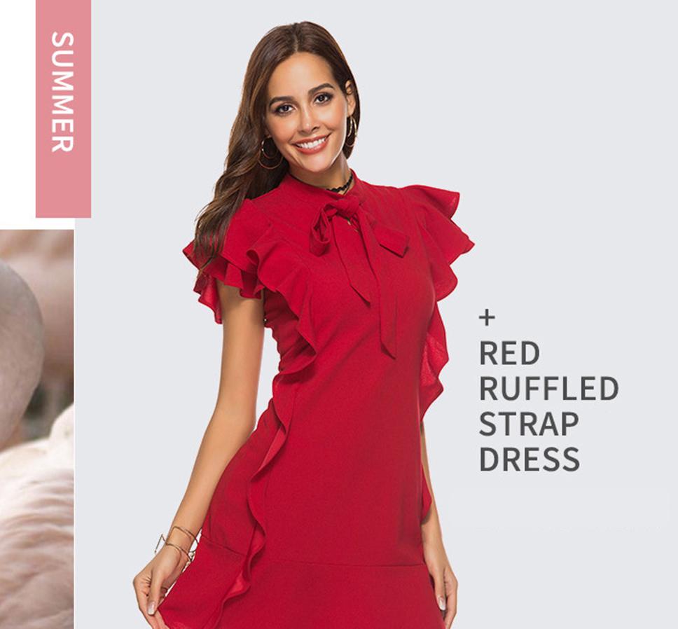 7078d162d9bd9 Summer Party Flounce Embellished Tied Neck Dresses For Womens Petal Sleeve  Ruffle Hem Zipper Back Sheath Dress