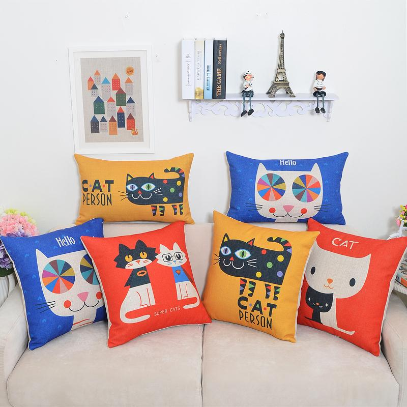 Free shipping throw pillow wedding decor linen fabric gift Hot sale 100% new 45cm Lovely fat pet cat sofa cotton cushion cover