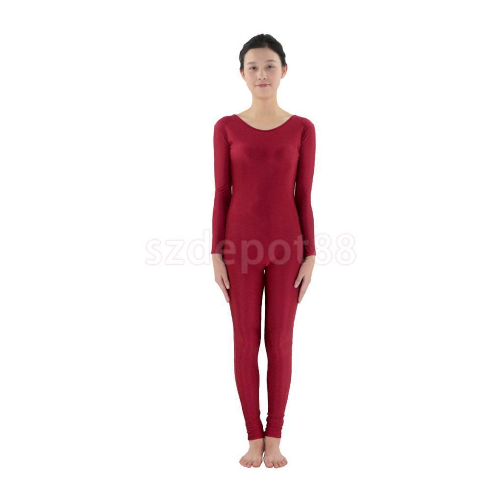 Adult Spandex Bodysuit Jumpsuit Catsuit Dance Costume Stretch Unitard S-3XL