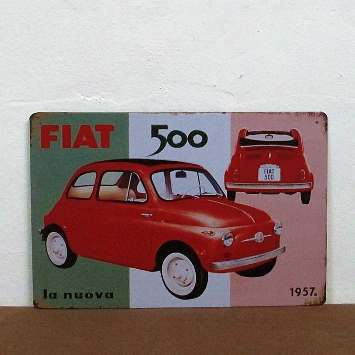 Free Shipping The FIAT 500 Car iron painting Bar pub home Wall Decor Retro art metal poster  size:20cm*30cm