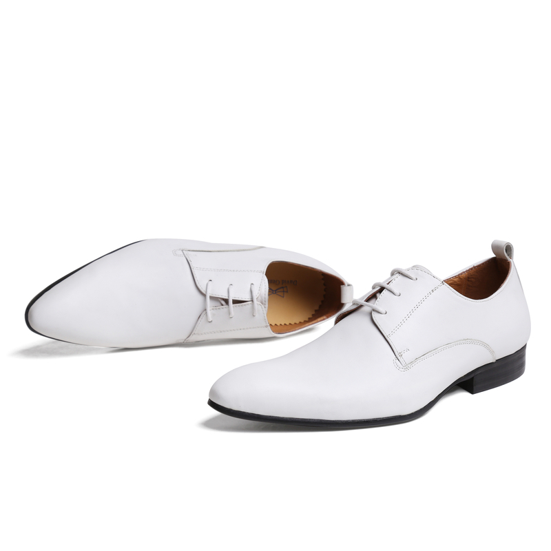 Fashion flats top quality mens wedding shoes white dress