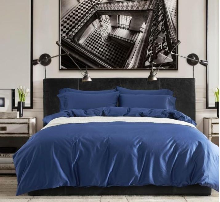 Egyptian Cotton Sheets Solid Cobalt Blue Bedding Set King