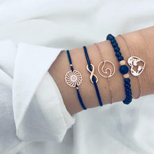 Набор золотых браслетов для женщин, многослойный браслет из богемского золота с блестками бисер серебряного цвета, украшения для ног, цепоч...(Китай)