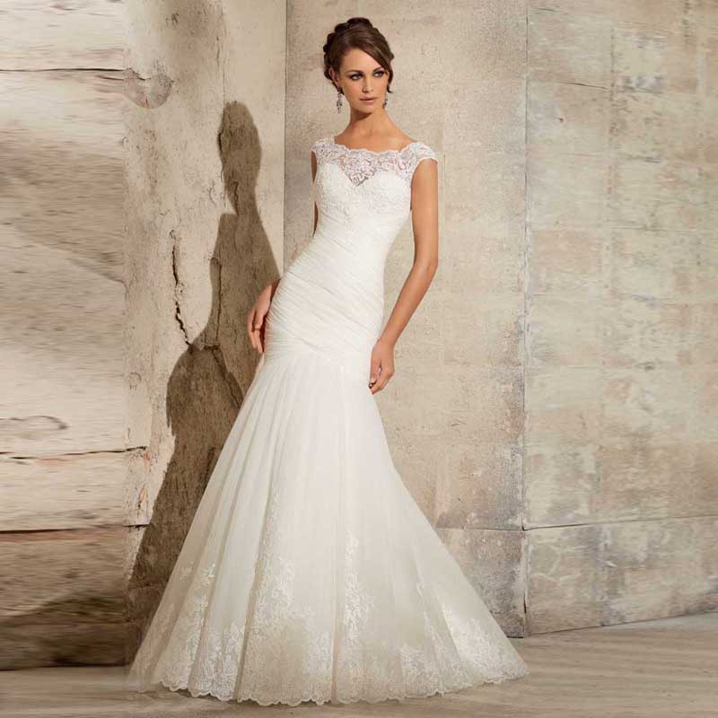 Tulle Overskirt Wedding Dresses Mermaid Bateau Neck Simple: 2016 Most Popular Tulle Fabric Scoop Neck Cap Sleeves
