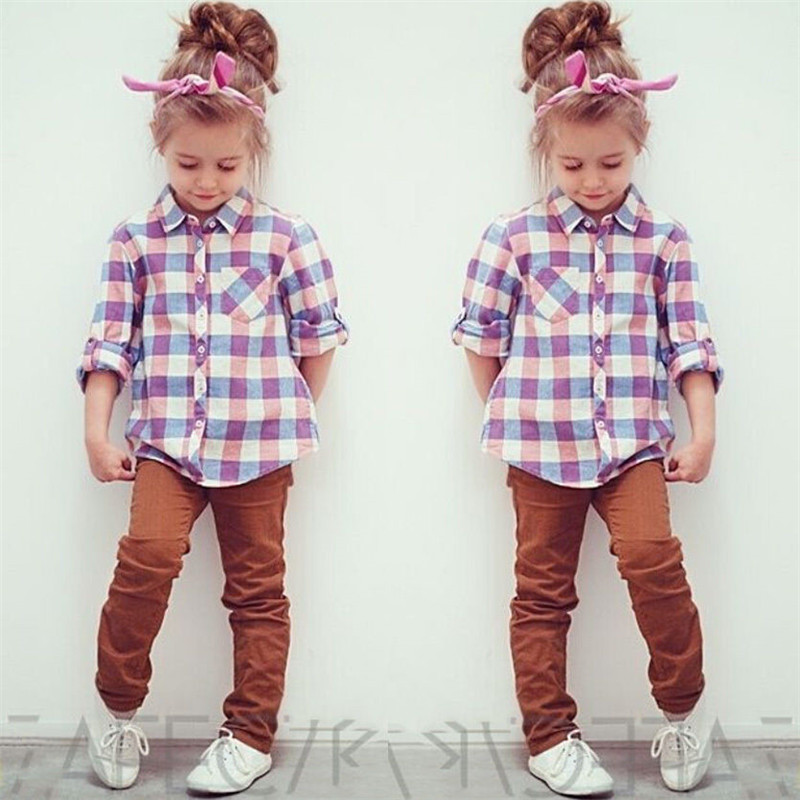 6c663d023 Fashion Checked Shirts Kid Girls Long Sleeve Plaid Tops Blouses Button Down  Blouse 2-7