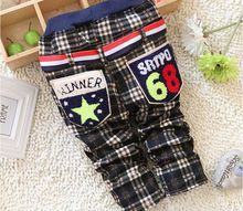 Free shipping 2016 winter new baby boy all match Plaid trousers panty baby boy pants B064